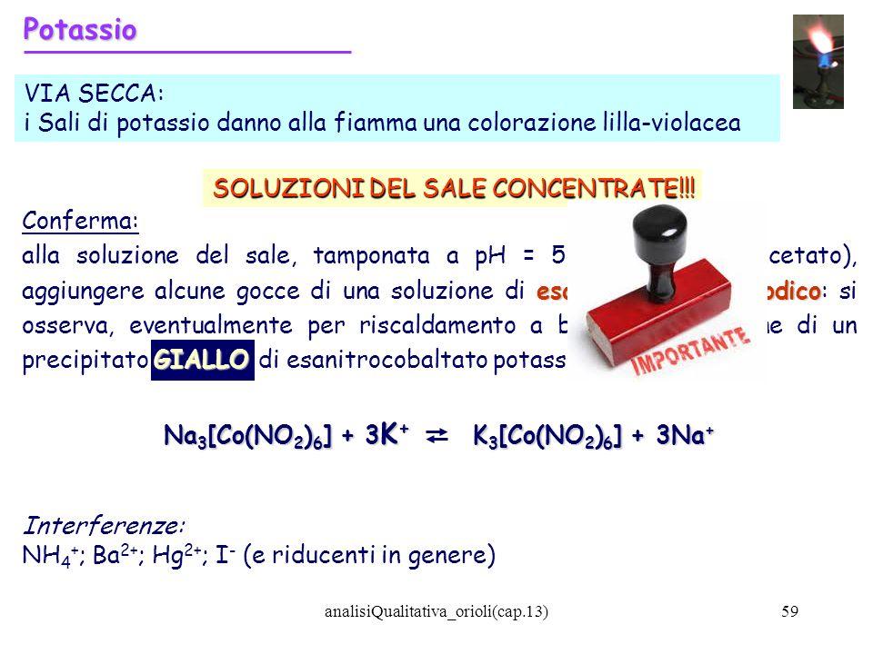 Na3[Co(NO2)6] + 3K+ K3[Co(NO2)6] + 3Na+